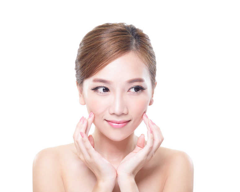 Beautiful Young Skin care Woman look to empty copy space isolated on white background, asian